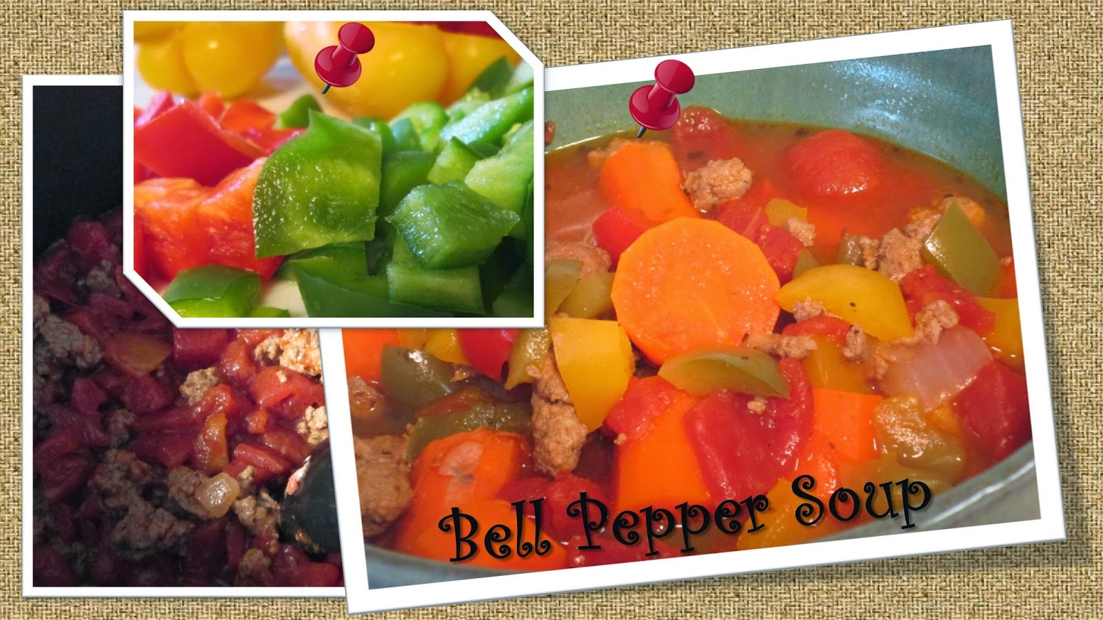 Images of home made bell pepper soup with ground turkey.