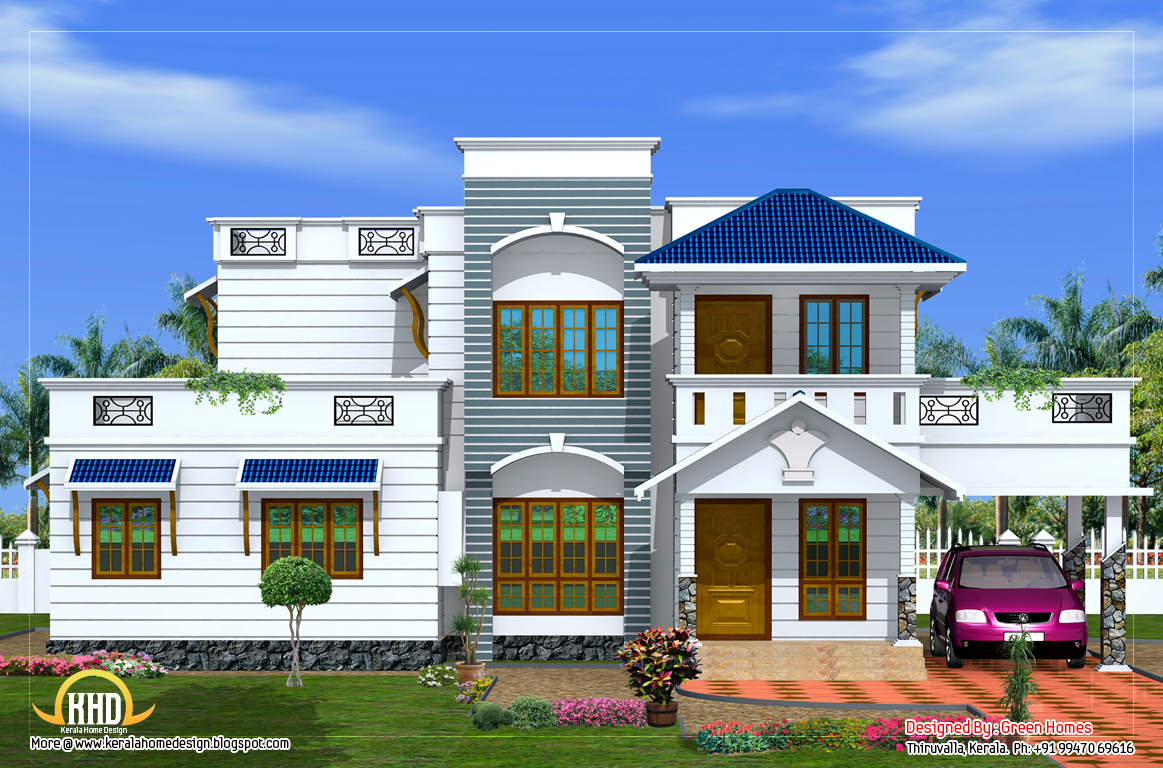 Duplex house elevation 2200 sq ft kerala home design and floor plans - Duplex home elevation design photos ...