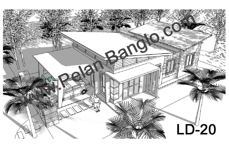 Perspektif pelan banglo LD20 (Banglo setingkat 3 bilik : Lot kecil 45