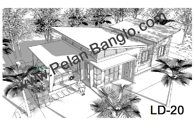 Perspektif pelan banglo LD20 (Banglo setingkat 3 bilik : Lot kecil 45 ...