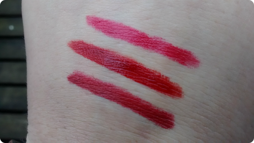 3 Lippenstift-Swatches