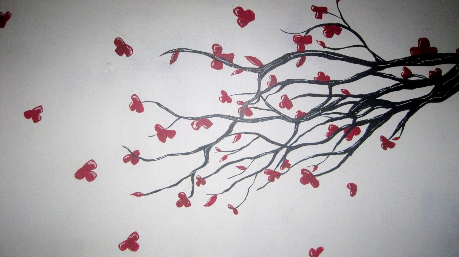 Arbol de cerezos mural en pared kadir bali black for Como dibujar un mural en la pared