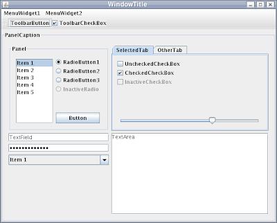 مثالٌ لشكل برامج الـswing علي مُختَلف أنظمة التشغيل (من صفحة الـswing علي الويكيبيديا)