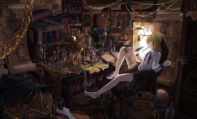 Blonde Hair Writing Scrolls Books  Girl Female Anime HD Wallpaper Desktop PC Background 2108