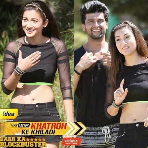 Gauhar looking gorgeous in black outfits with Kushal in Fear Factor Khatron Ke Khiladi
