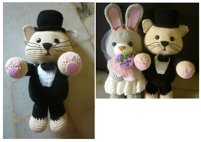 crochet wedding dolls amigurumi bunny amigurumi cat wedding gift cute couple pattern idea free design