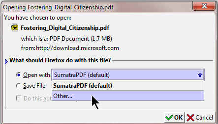 Firefox PDF Open with