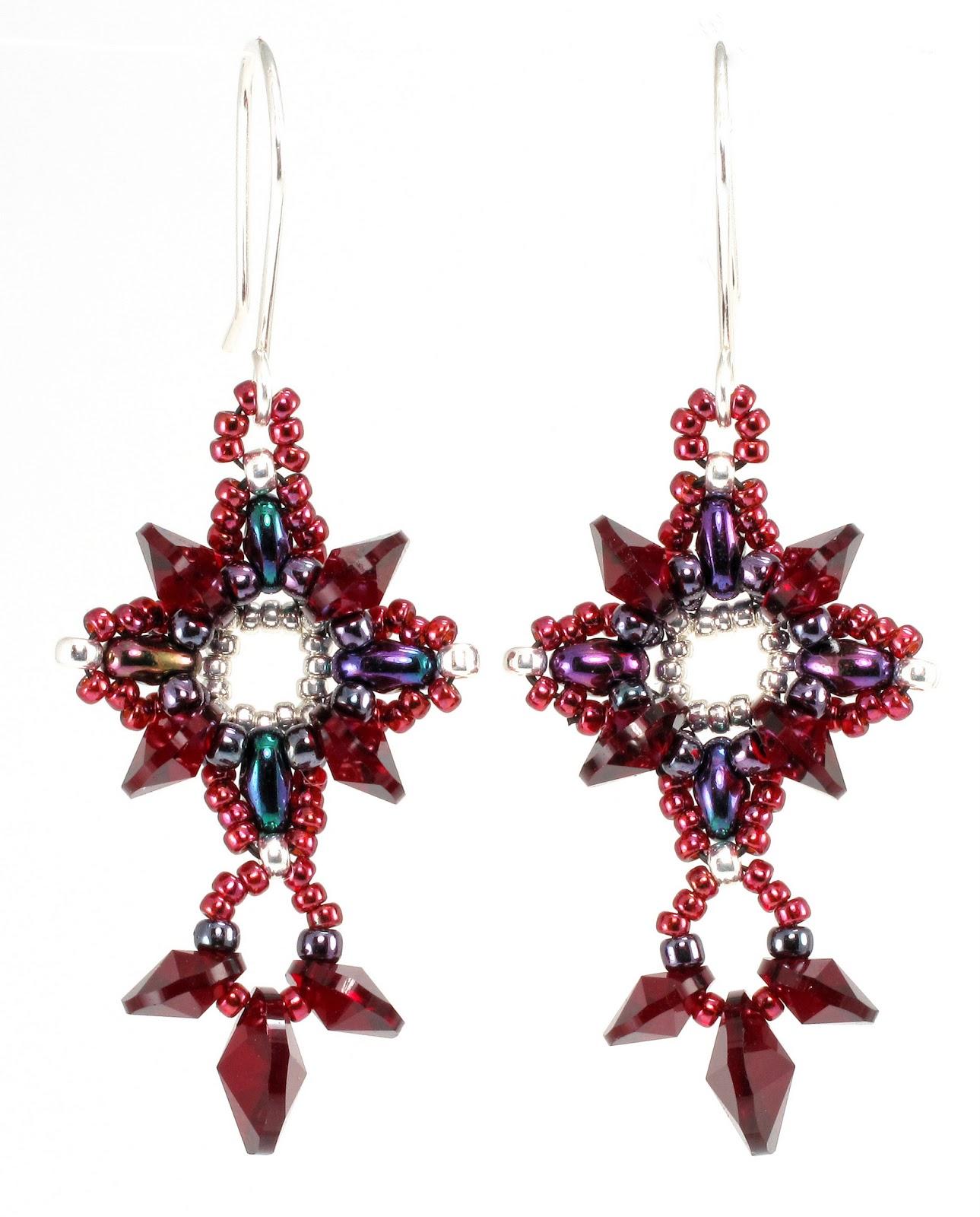 Bead Origami: New Pattern and Kits: Squareflake Earrings