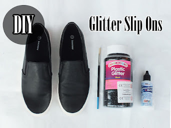 DIY: BLACK GLITTER SLIP ON SNEAKER