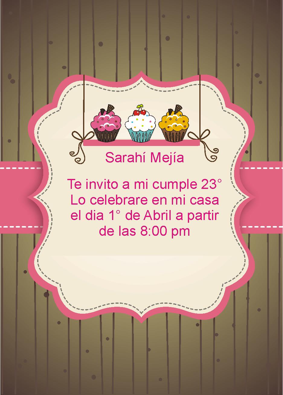 Invitaciones Para Cumple Anos De Cupcakes