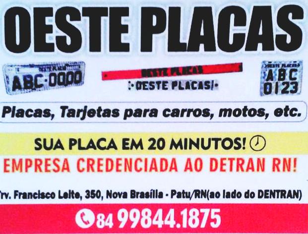 OESTE PLACAS EM PATU/RN