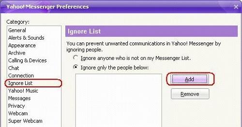 Chặn những nick Yahoo làm phiền