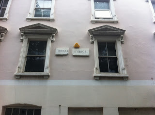 Old sign for Hogarth Studios, Charlotte Street, London