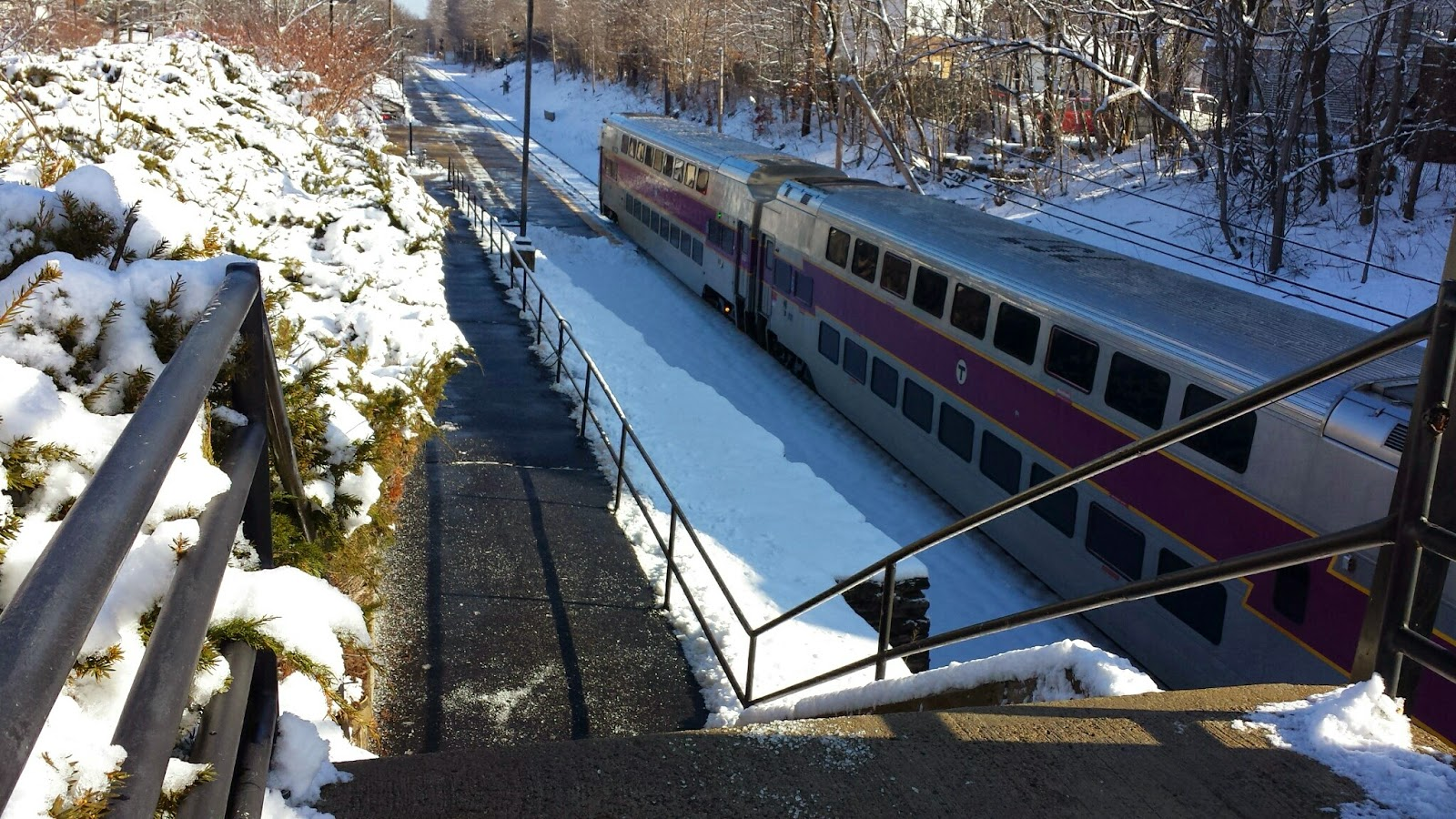 the train headed out of Frankin Station to Forge Park