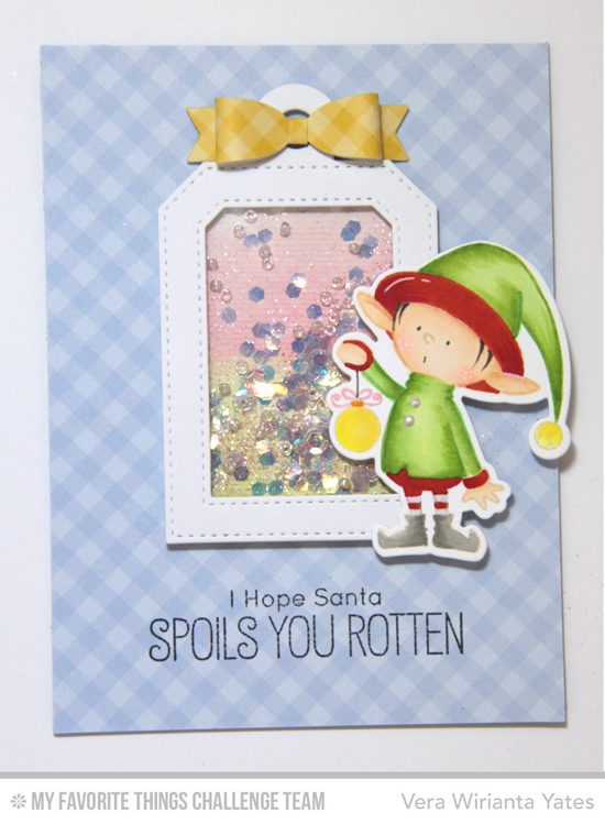 Elf Shaker Card by Vera Wirianta Yates featuring the Birdie Brown Santa's Elves stamp set and Die-namics and the Tag Builder Blueprints 4 Die-namics #mftstamps # wcmd2015