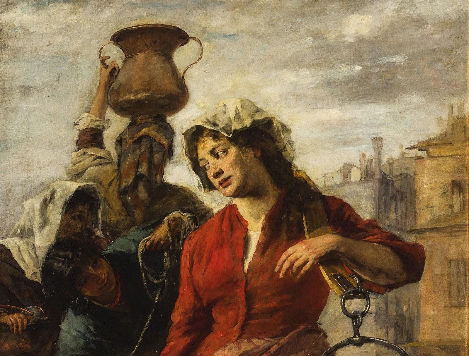 Alessandro Milesi Fanciulle  alla  fonte  a  Venezia detail