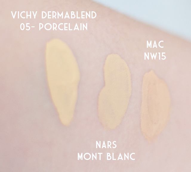 Dermablend 05 Porcelain NARS Mont Blanc MAC NW15 swatch