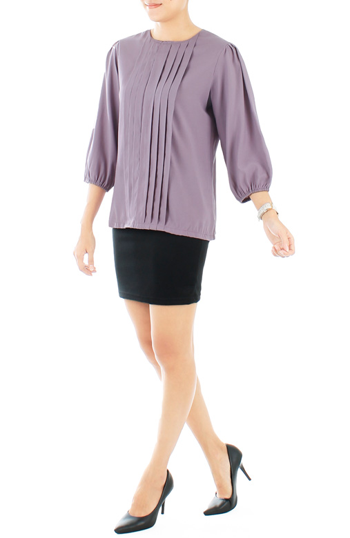 Lavender Parallel Pintuck Blouse