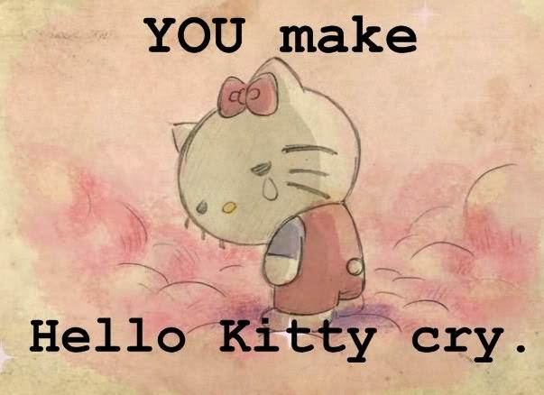 GAMBAR HELLO KITTY MENANGIS SEDIH | Gambar Animasi Hello Kitty Galau Bergerak