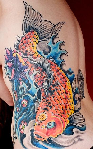 Colored Japanese koi Tattoo