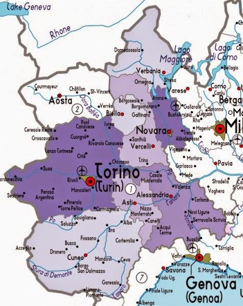 Пьемонт на карте Италии