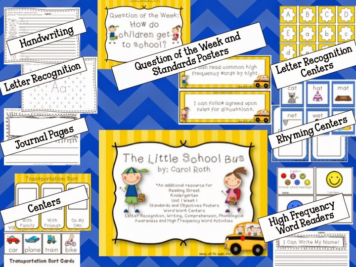 http://www.teacherspayteachers.com/Product/The-Little-School-Bus-Kindergarten-Unit-1-Week-1-1214764