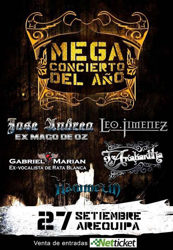 Megaconcierto del año, Jose Andrea, Leo Jimenez, Gabriel Marian, Anabantha y Hammelin en Arequipa - 27 set