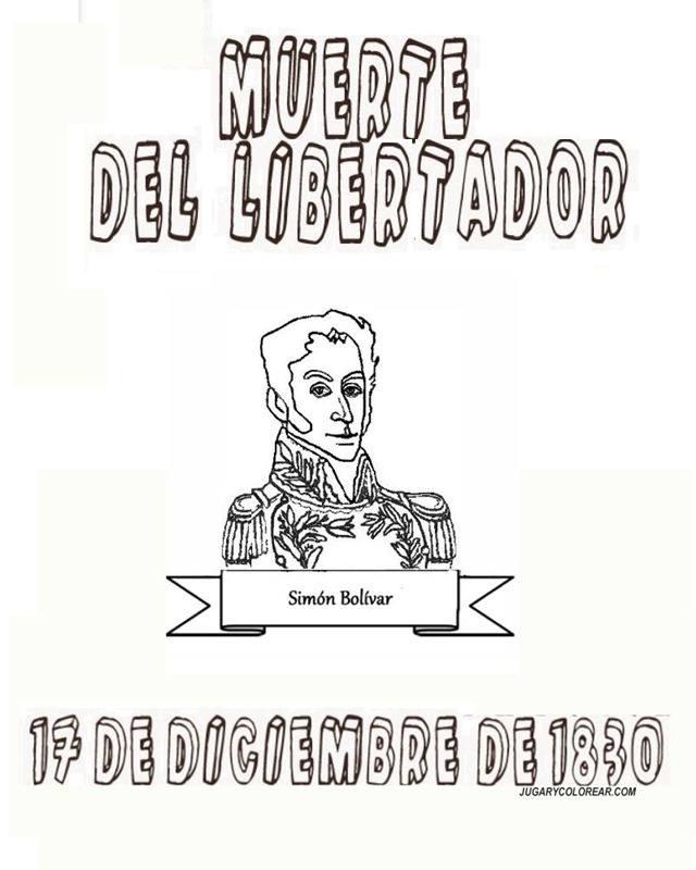 Colorear muerte del libertador Simn Bolvar