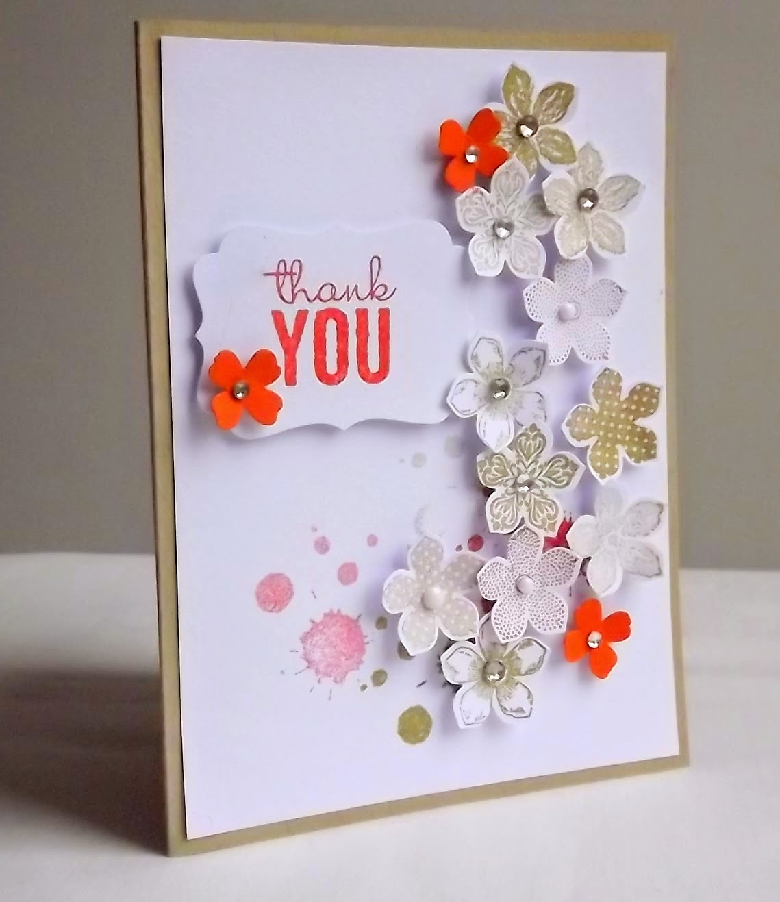 Stampin Up! Petite petals, crumb cake, itty bitty accents card