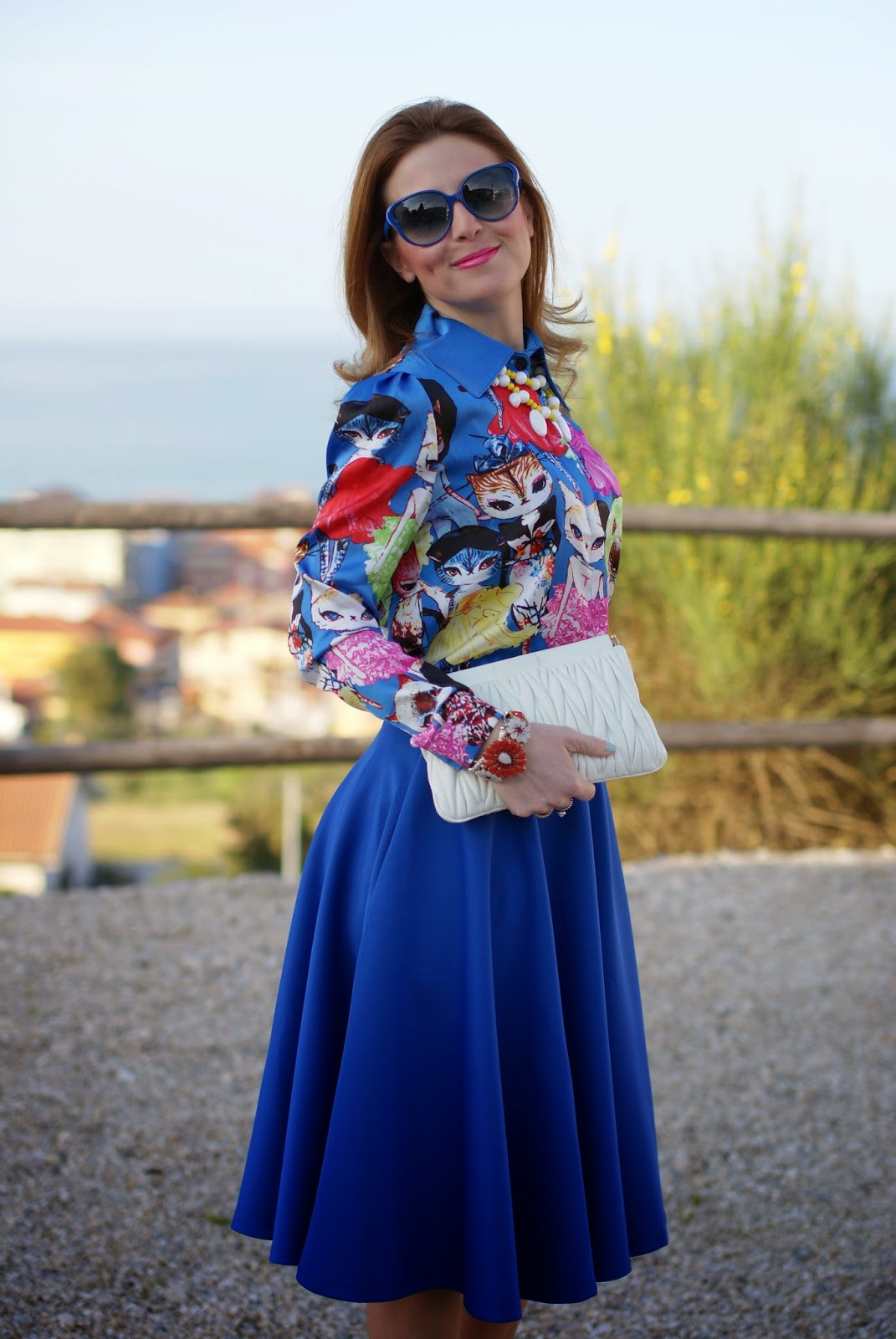 cats print shirt, romwe cats shirt, Miu Miu clutch, Fashion and Cookies, fashion blogger