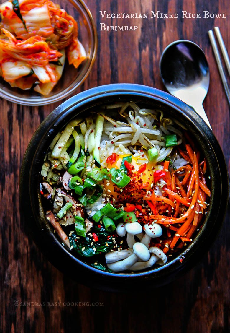 Vegetarian Mixed Rice Bowl-Bibimbap  #koreanfood #homemade