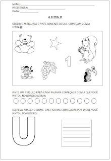 Atividades para Alfabetização - Pinte as figuras - Escreva o nome das figuras - A letra U