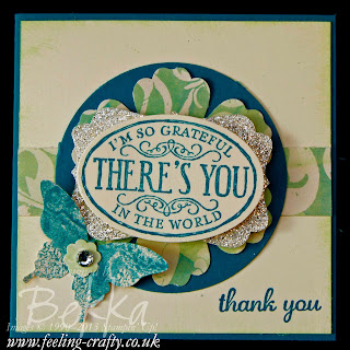 Thank You card by UK Stampin' Up! Demonstrator Bekka - check her blog for lots of cute ideas!