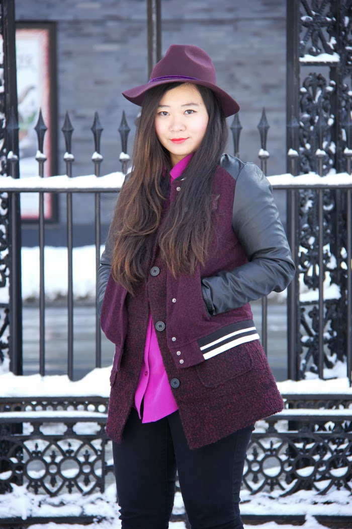 Fedora-Hat, Varsity-Jacket, Burgundy-Coat, Fashion-Blog