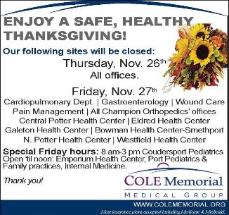 Holiday Hours For Cole Memorial Medical Group