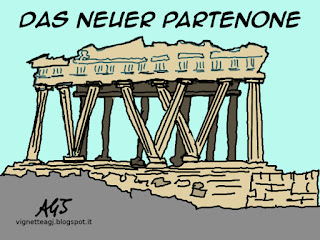 partenone, grecia, germania, satira, vignetta