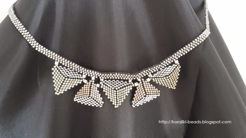 Toho beads necklace with triangles