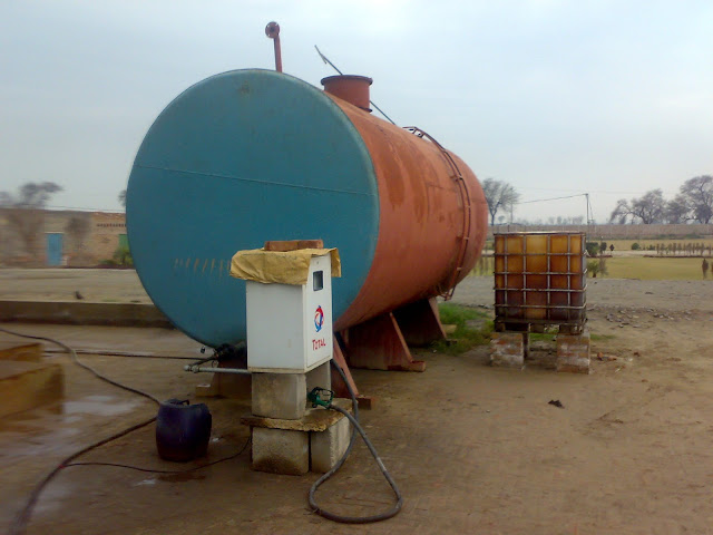 Sulfuric Acid Plant in Pakistan 100 Metric ton daily production by contact process single absorption, image by irfan ahmad plant operator, horizantally situated diesel storage tank for generator