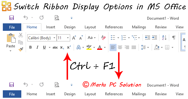 Switch Between Ribbon Display Modes