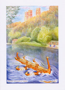 Rowing with Lots of Neck Durham UK Giraffe Artist Ingrid Sylvestre