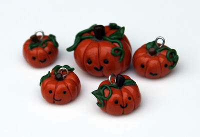 Polymer clay pumpkins after varnishing