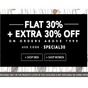 Jabong: Buy Clothing 30% off and 30% off at Rs. 999