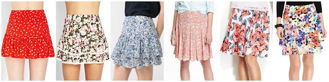 Forever 21 Ditsy Floral Ruffle Skirt $9.99 (regular $13.80)   Forever 21 Flirty Floral Ruffle Skirt $10.99 (regular $15.80)  Mango Outlet Ruffled Floral Miniskirt $12.99 (regular $44.99)   Old Navy Pleated Crepe Skirt $18.00 (regular $29.94)  INC Floral Print A-Line Skirt $24.99 (regular $69.50)  Ralph Lauren Floral Print Ruffled Skirt $54.99 (regular $110.00)