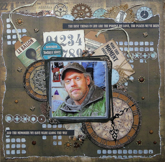 Scraps of Darkness scrapbook kits: Kathy Mosher created this rugged masculine layout with our Sept. Tanya's Industrial Odyssey Kit.