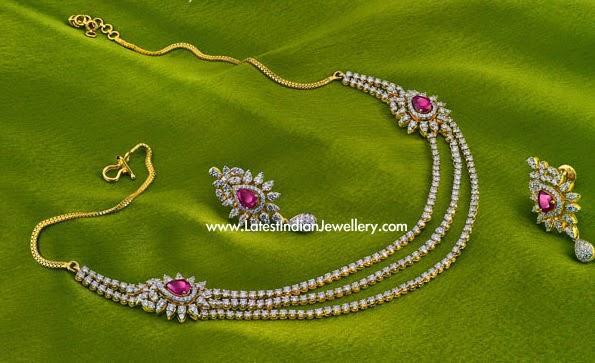 Triple String Simple Diamond Necklace