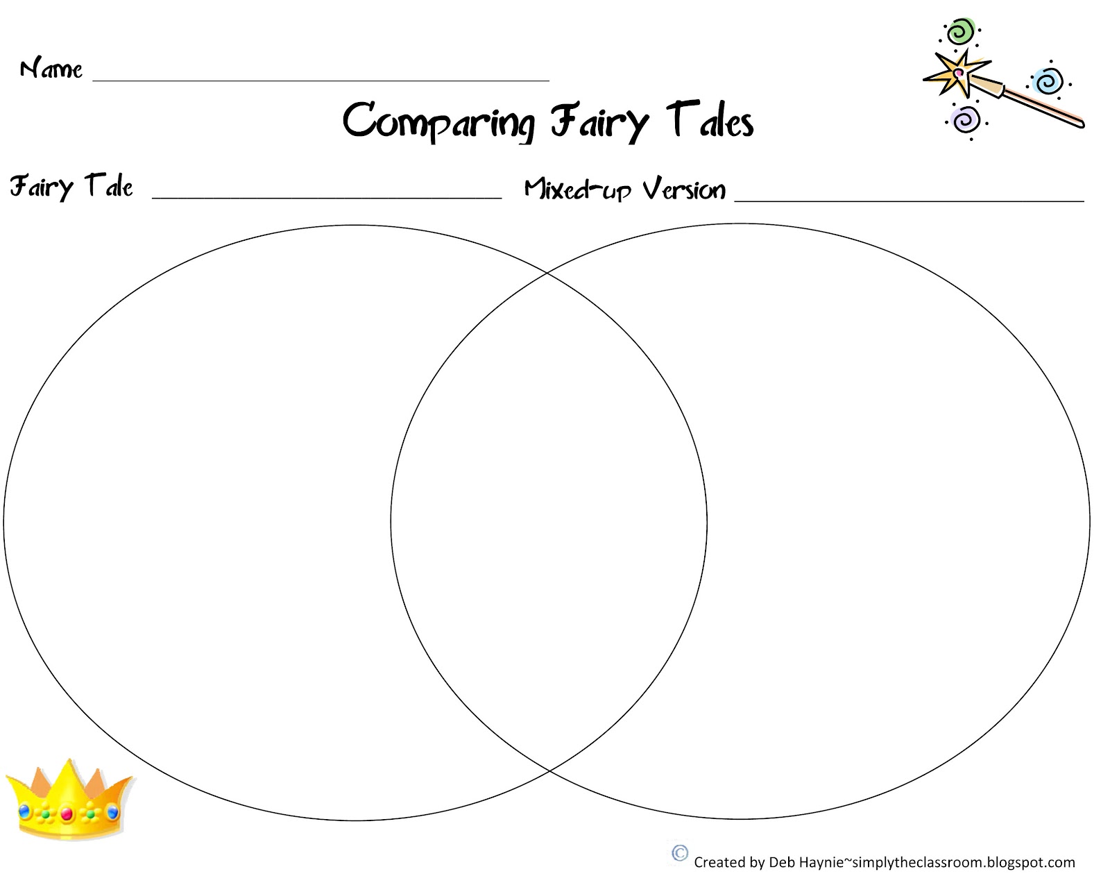 Compare Contrast Venn Diagram Fairy Tales Are Like The Ocean
