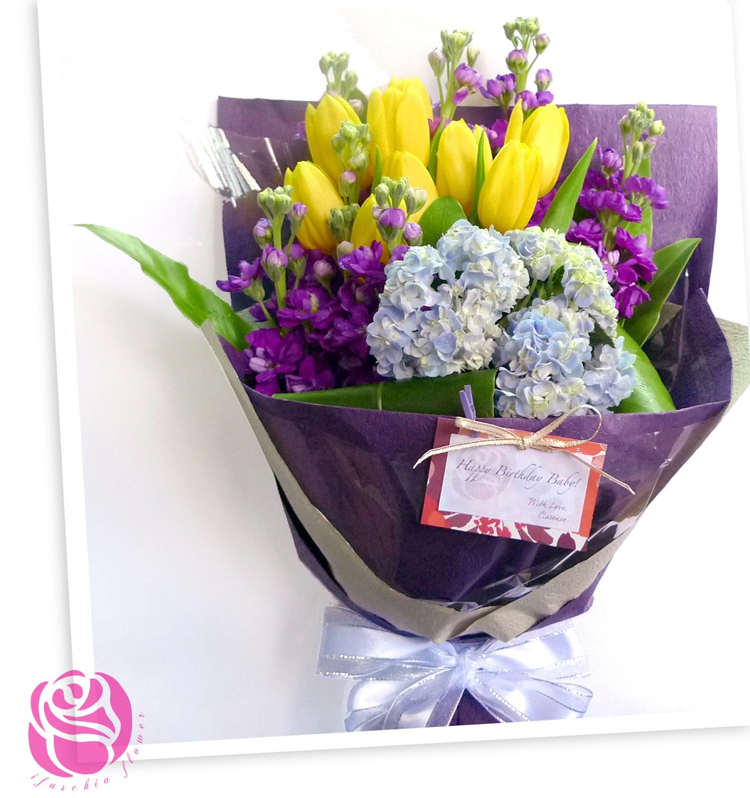 Ifuschia flower birthday bouquet of yellow tulips birthday bouquet of yellow tulips izmirmasajfo Gallery
