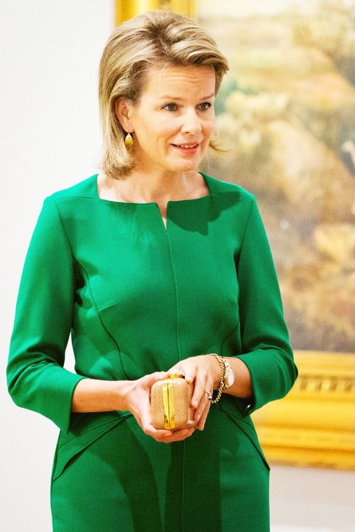 "Queen Mathilde earlier this week attending the exhibition ""Sensation and Sensuality"" at the Royal Museums of Fine Arts of Belgium in Brussels"