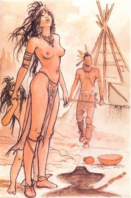 Mulher ndia - Quadro Pintado pelo Artista Italiano Milo Manara.