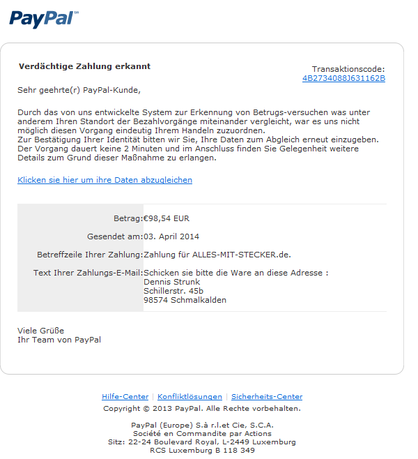 phishing mail alerts paypal verd chtige zahlung erkannt sperrung ihres paypal kontos. Black Bedroom Furniture Sets. Home Design Ideas